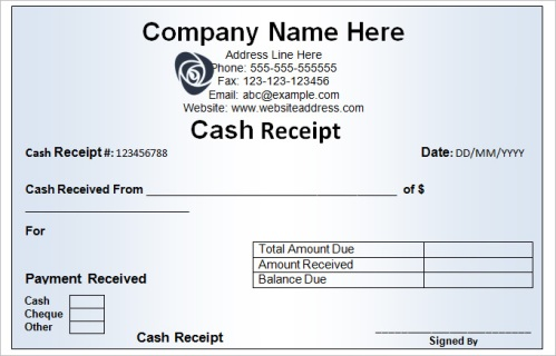 various characteristics of a cash receipt template arabic guy