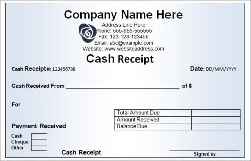Cash Receipt Template Arabic Guy