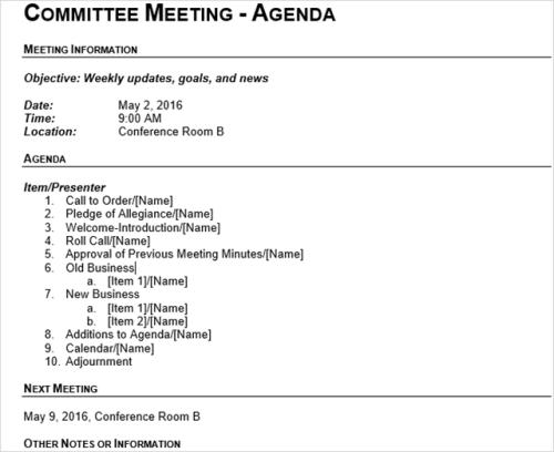 Best Meeting Agenda Templates Arabic Guy
